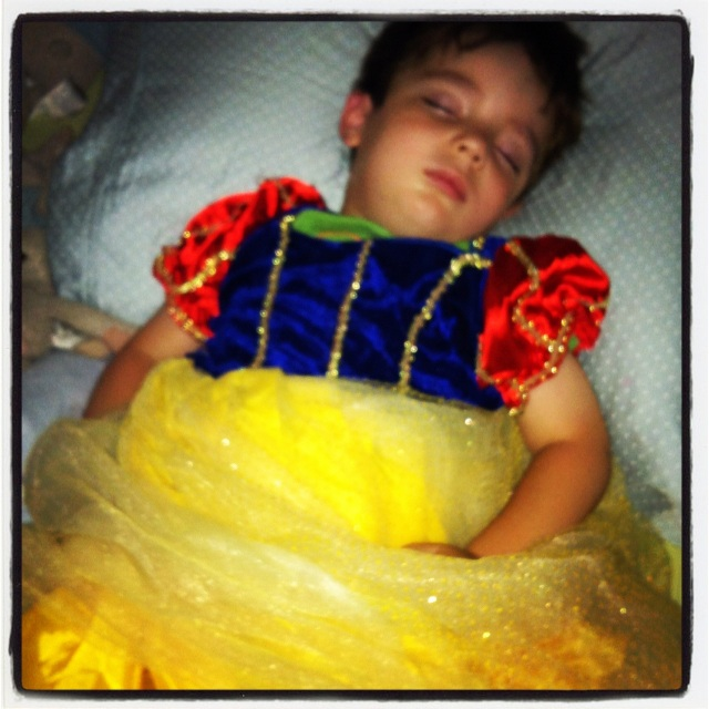 Henry fell asleep in a princess dress.